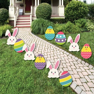 Big Dot of Happiness Hippity Hoppity - Easter Bunny & Egg Yard Decorations - Outdoor Easter Lawn Decorations - 10 Piece