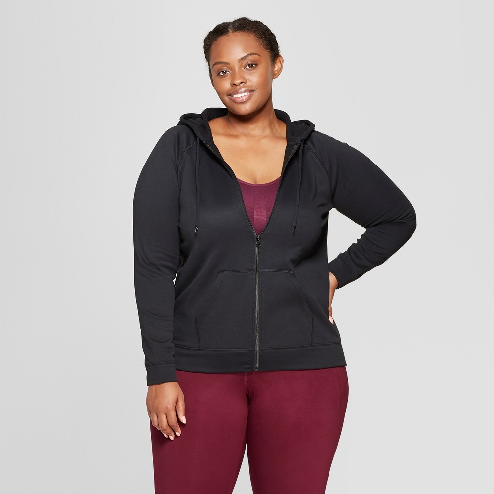 Women's Plus Size Tech Fleece Full Zip Sweatshirt - C9 Champion Black 4X
