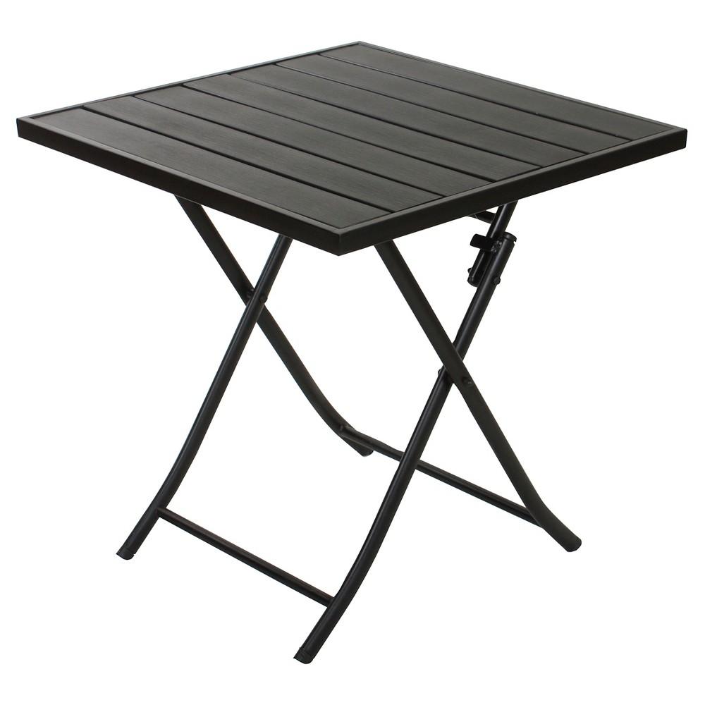 "Image of ""27.6""""X27.6"""" Faux Wood Patio Folding Table - Black - Captiva Design"""