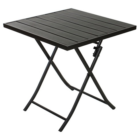 27 6 X27 6 Faux Wood Patio Folding Table Black Captiva Design