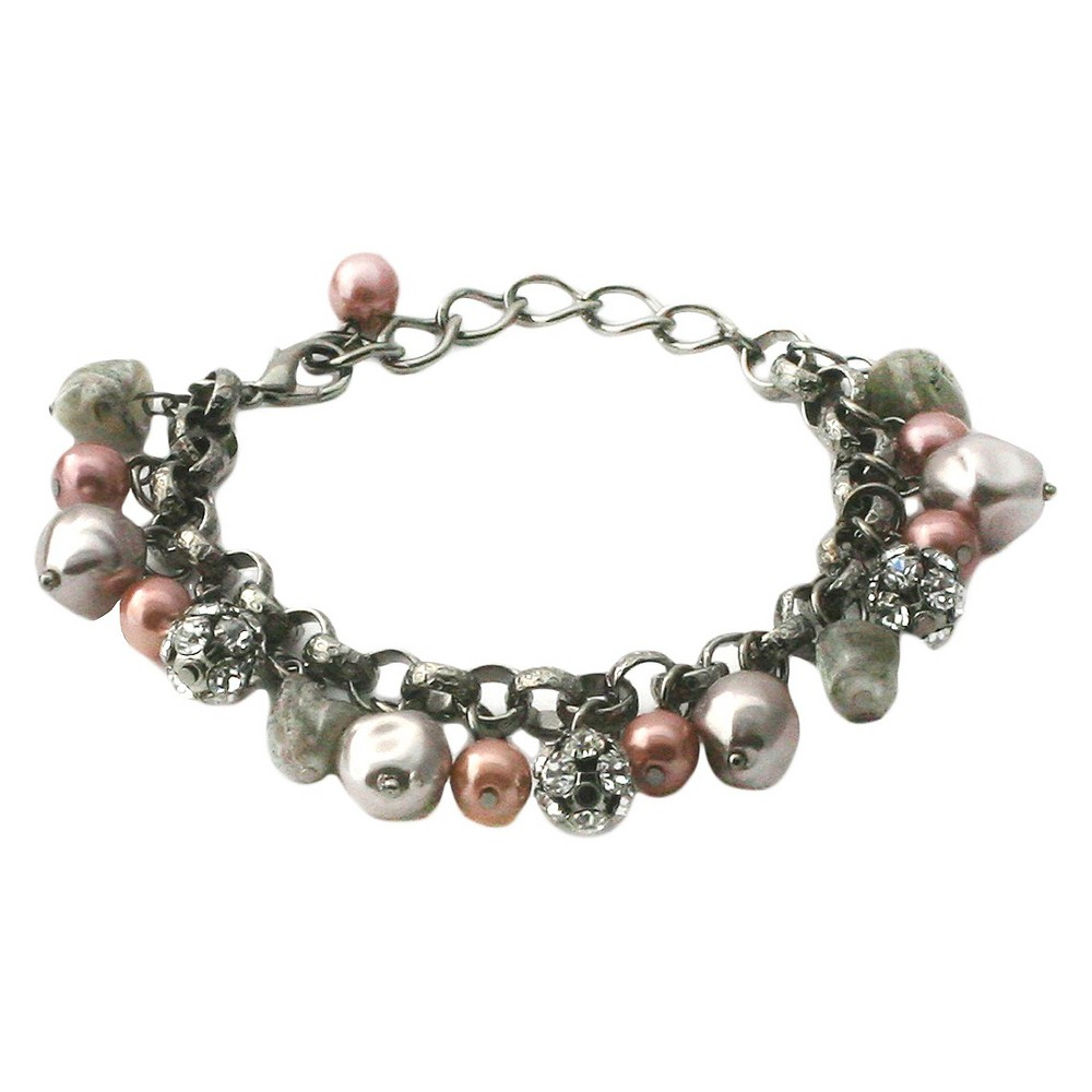 Women's Zirconite Glass Pearls/Fireballs Chain Link Bracelet, Size: Small, MultiColored