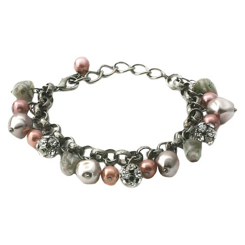Women's Zirconite Glass Pearls/Fireballs Chain Link Bracelet - image 1 of 1
