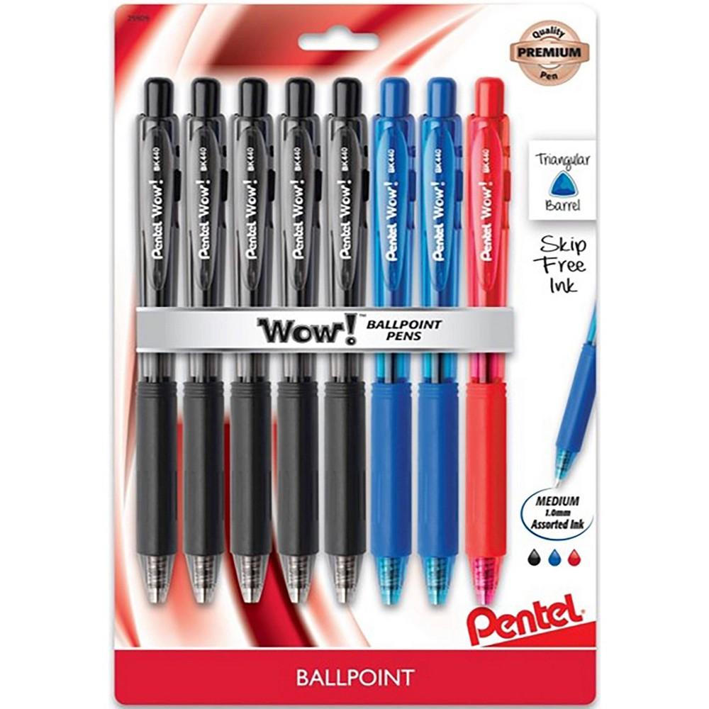 Image of 8ct Wow! Ballpoint Pens 1mm Black/Blue/Red - Pentel