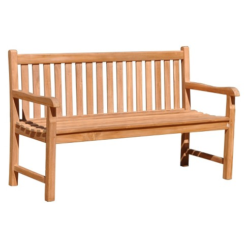 Teak Heritage Outdoor Two Seater Bench - Natural Finish - Courtyard Casual - image 1 of 4