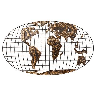 Iron World Map Wall Art - Brushed Gold - Aiden Lane