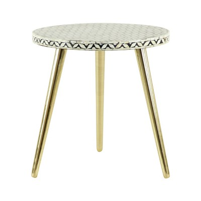 Round Table Metal And Wood Black and Gold- Olivia & May