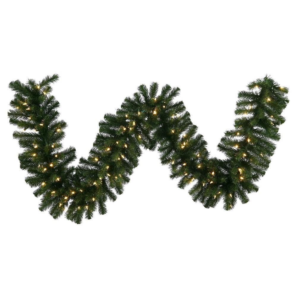 50Ft. Christmas Douglas Fir Garland With Led Lights - Green
