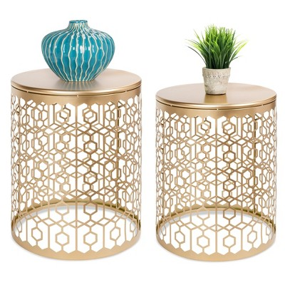 Best Choice Products Set of 2 Decorative Nesting Round Patterned Accent Side Coffee End Table Nightstands