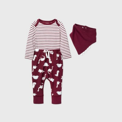 Baby Boys' Dino Top & Bottom Set with Bib - Cat & Jack™ Burgundy 0-3M
