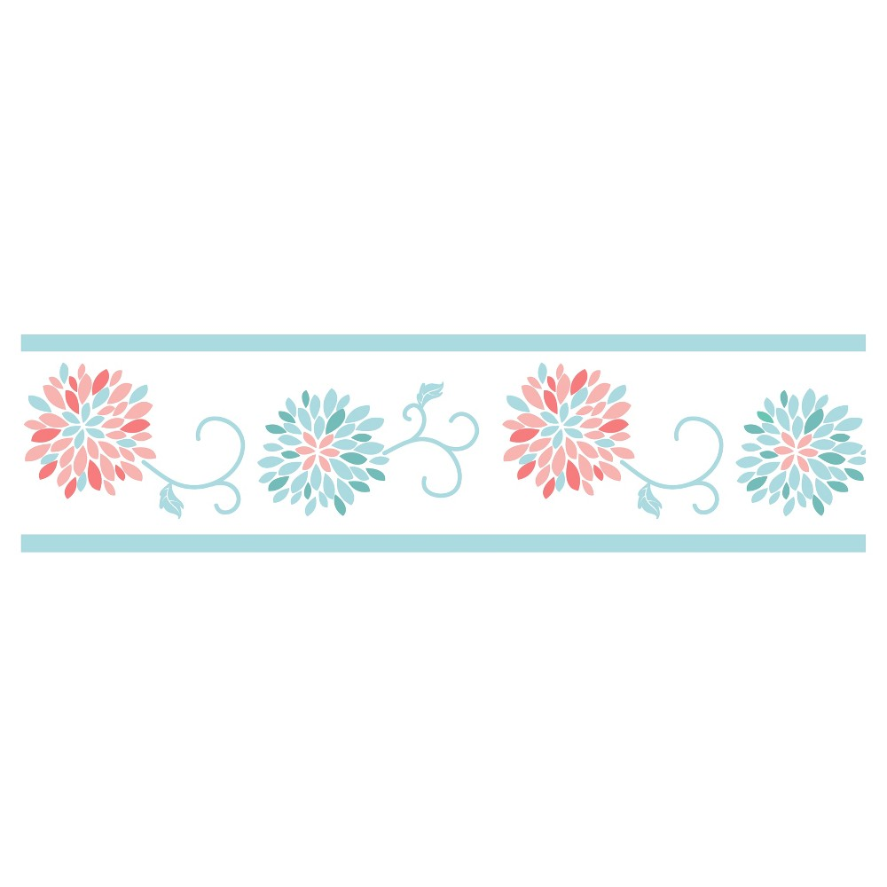 Image of Coral & Turquoise Emma Wall Border - Sweet Jojo Designs, Blue Pink White
