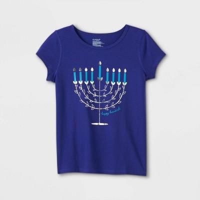 Girls' Adaptive Hanukkah Menorah Short Sleeve Graphic T-Shirt - Cat & Jack™ Blue