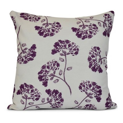"Purple/White Floral Print Throw Pillow (16""x16"") - E by Design"