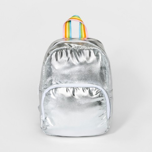 Girls' Rainbow Strap Backpack - Cat & Jack™ Silver - image 1 of 2