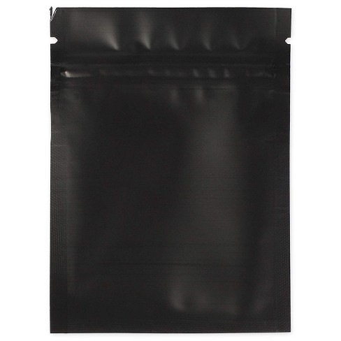 """100-Pack Resealable Smell Proof Foil Pouch Bag, 2.9""""x 3.8"""" Reusable Flat Ziplock Storage Bags, Matte Black - image 1 of 4"""