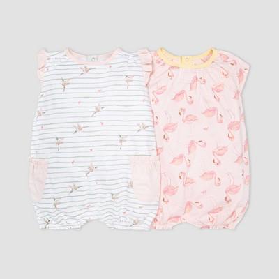 Burt's Bees Baby® Baby Girls' 2pk Happy Hummingbird Bubble Romper Set - Green/Pink