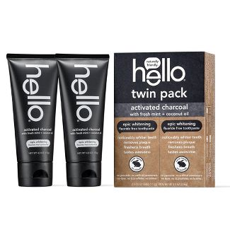 hello Activated Charcoal Epic Whitening Fluoride Free Toothpaste SLS Free + Vegan Twin Pack - 4oz/2pk