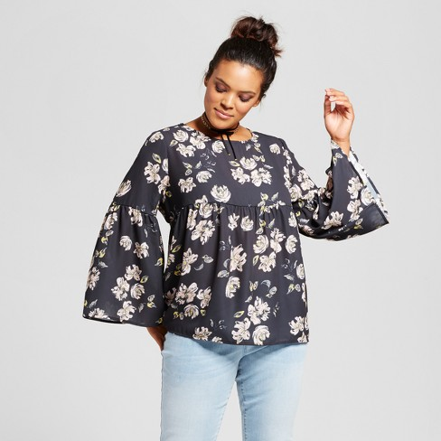 34382dd80baa1 Women s Plus Size Floral Bell Sleeve Blouse - Grayson Threads (Juniors )  Black Floral