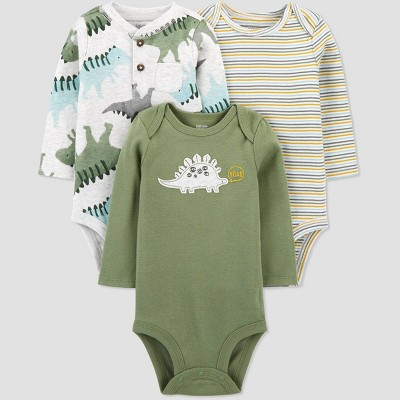 Baby Boys' 3pk Dino Long Sleeve Bodysuit - Just One You® made by carter's Green 9M