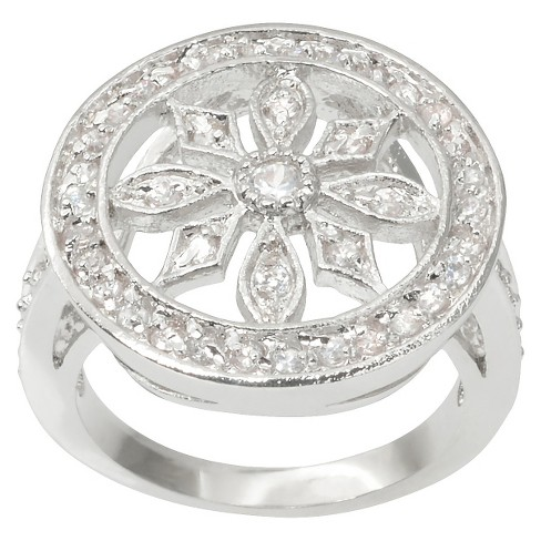 1/2 CT. T.W. Journee Collection Round Cut CZ Pave Set Flower Ring in Brass - Silver - image 1 of 3