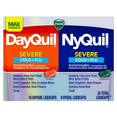 Vicks DayQuil & NyQuil Severe Cold & Flu Relief Liquicaps - Acetaminophen - 24ct