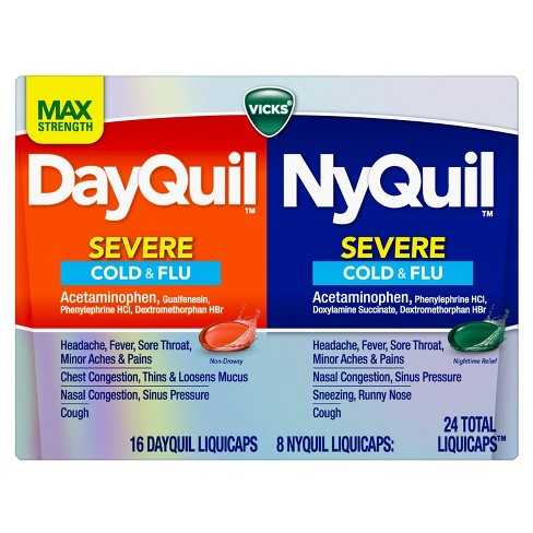 Vicks DayQuil & NyQuil Severe Cold & Flu Relief Liquicaps - Acetaminophen - 24ct - image 1 of 4