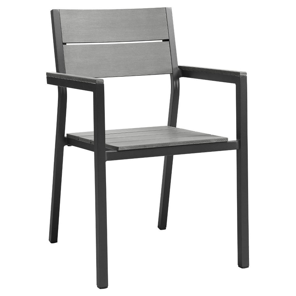 Maine Dining Outdoor Patio Armchair in Brown Gray - Modway