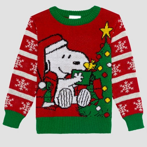 126add0f4c9f Toddler Boys  Peanuts Snoopy Ugly Holiday Sweater - Red   Target