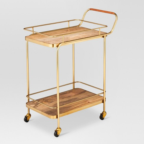 View Photos Play Threshold Metal Wood And Leather Bar Cart