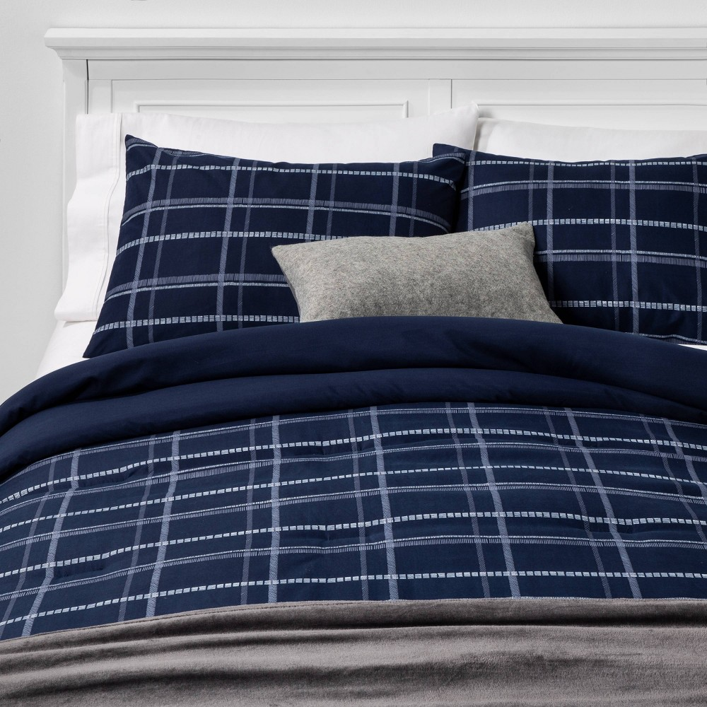 King Plaid Bed in a Bag Blue - Room Essentials