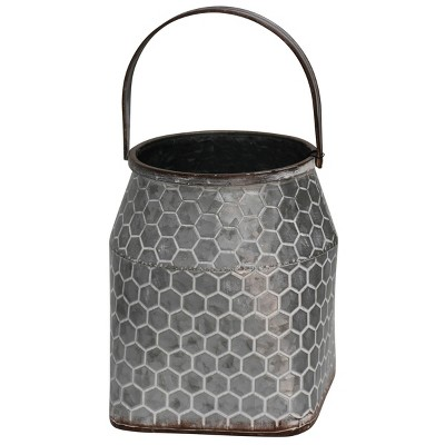 """9"""" x 8"""" Galvanized Metal Vase with Handle Silver - StyleCraft"""