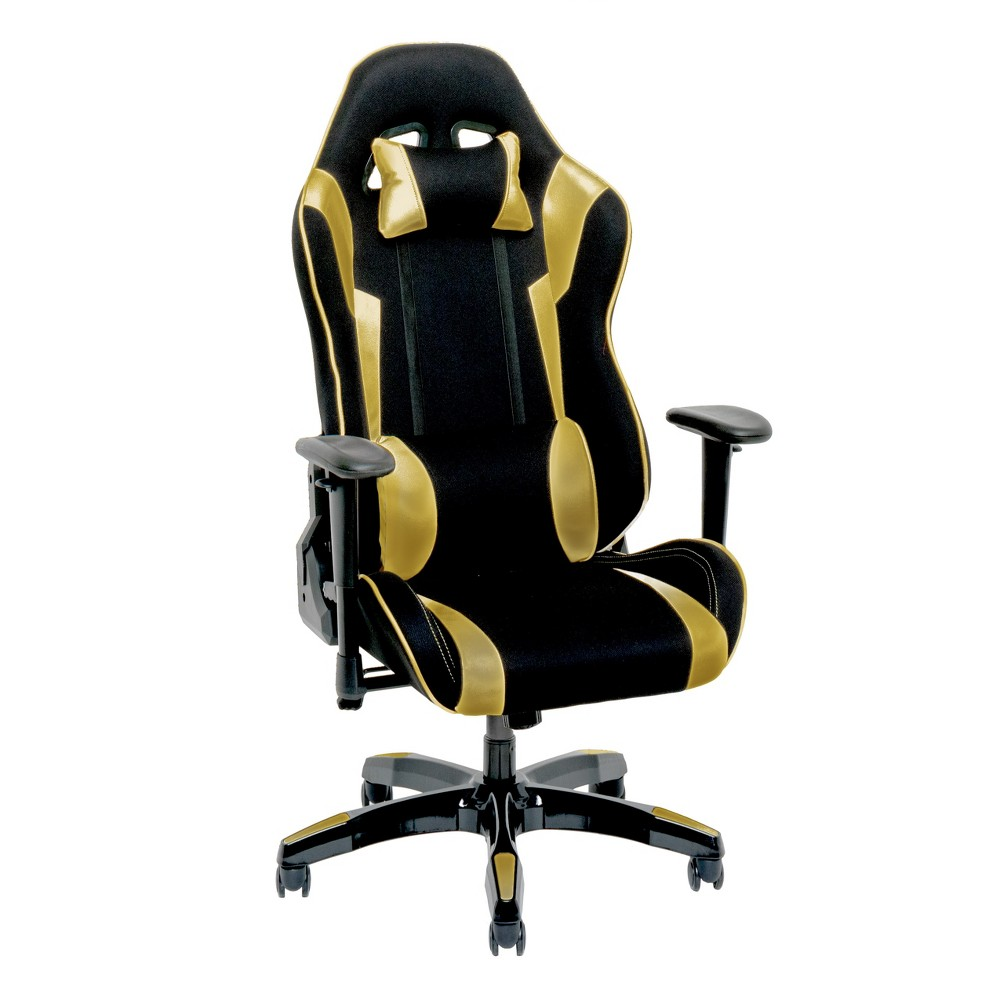 Adjustable High Back Ergonomic Gaming Chair Black/Gold - CorLiving
