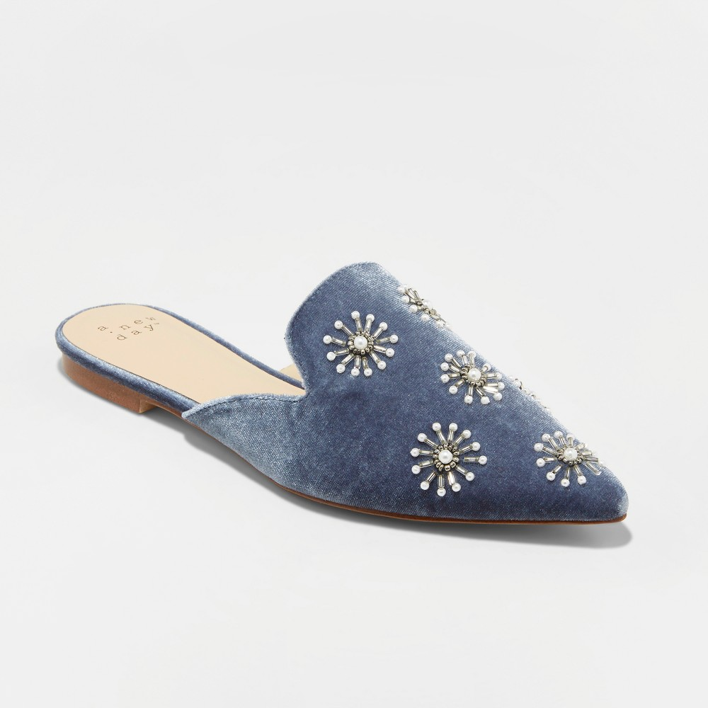 Women's Osmo Backless Velvet Embellished Mules - A New Day Blue 9