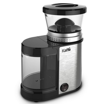 Kaffe KF8020 Electric Burr Coffee Grinder. Stainless Steel - 4oz Capacity with Easy On/Off Button