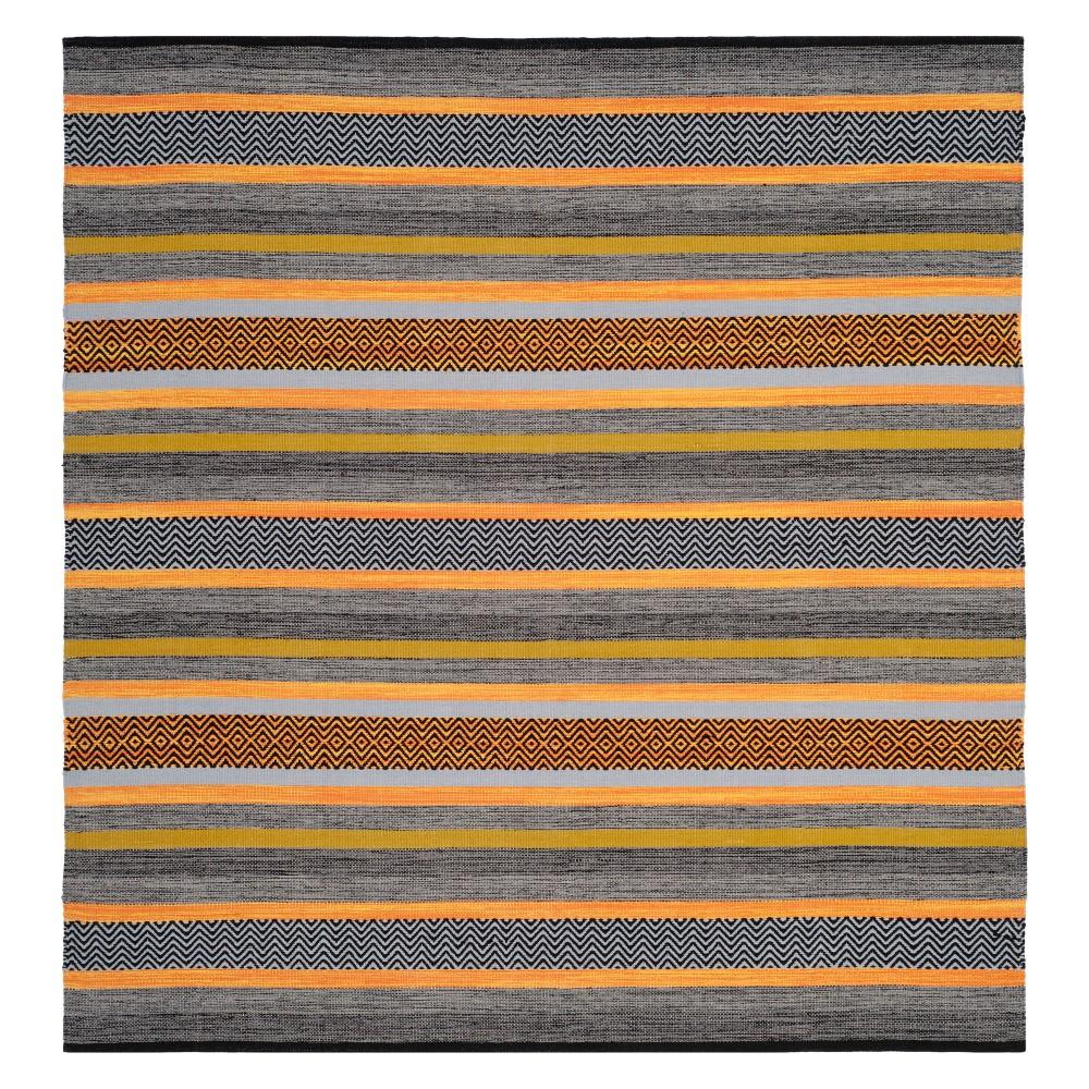 6'X6' Stripe Woven Square Area Rug Navy - Safavieh, Blue