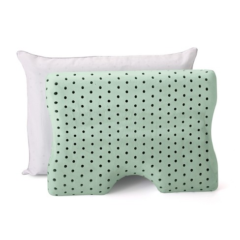Memory Foam Contour Pillow 2pk (Standard) Green - Authentic Comfort® - image 1 of 9