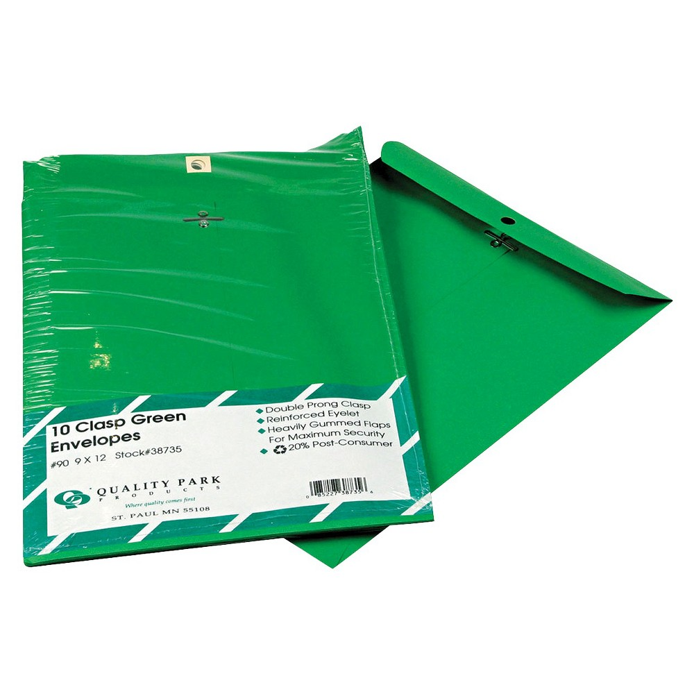 Quality Park Clasp Envelope-28 lb - Green (10 Per Pack)