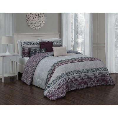 7pc King Elisa Comforter Set Plum - Geneva Home Fashion