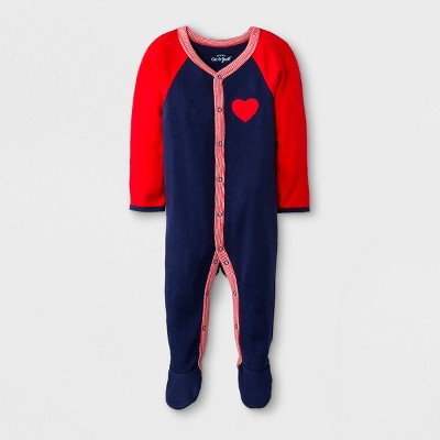 Baby Long Sleeve Footed Sleeper - Cat & Jack™ Blue/Red 3-6M
