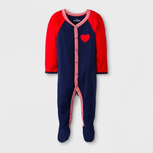 Baby Long Sleeve Footed Sleeper - Cat & Jack™ Blue/Red - image 1 of 2