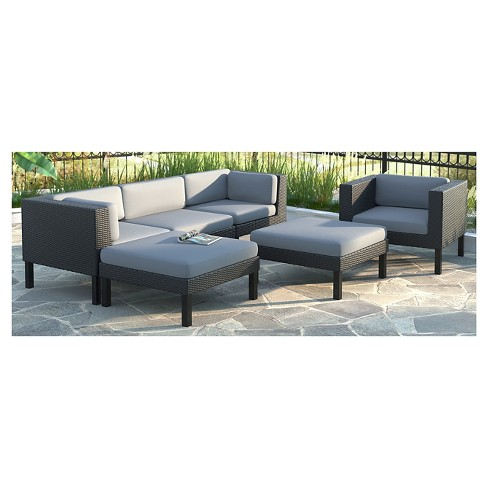 Corliving Oakland 6 Piece Sofa With Chaise Lounge And Chair Patio Set Textured Black Weave Dove Gray Target