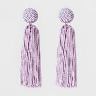 SUGARFIX by BaubleBar Beaded Studs Tassel Drop Earrings - Lilac