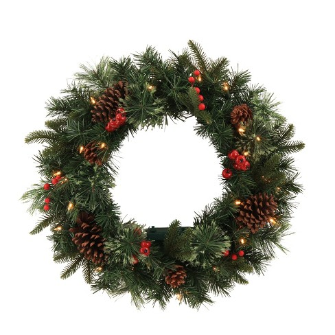 24 christmas prelit led red berrypinecones artificial mixed pine wreath battery operated wondershop - Pre Lit Christmas Wreaths Battery Operated
