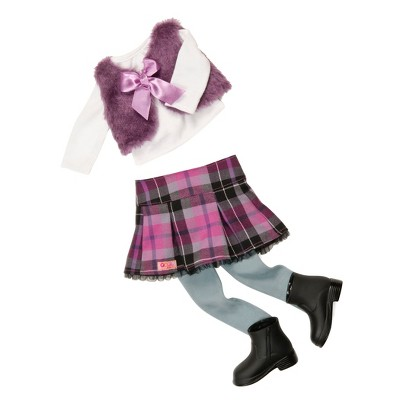 """Our Generation Faux-Fur Fashion Outfit for 18"""" Dolls - A Tad Plaid"""