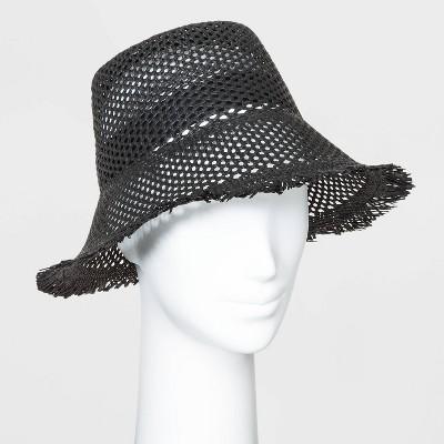 Women's Open Weave Straw Bucket Hats - Universal Thread™ Black One Size
