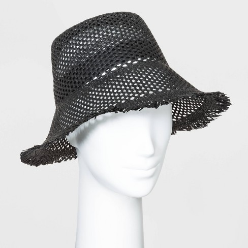 Women's Open Weave Straw Bucket Hats - Universal Thread™ Black One Size - image 1 of 1