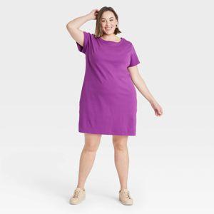 Women's Plus Size Short Sleeve T-Shirt Dress - Ava & Viv™ Purple X