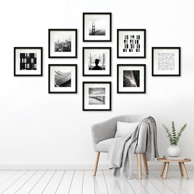 """(Set of 9)8"""" x 8"""" Matted Set Black - Made By Design™"""