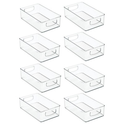 mDesign Stackable Plastic Home Office Storage Bin with Handles, 8 Pack