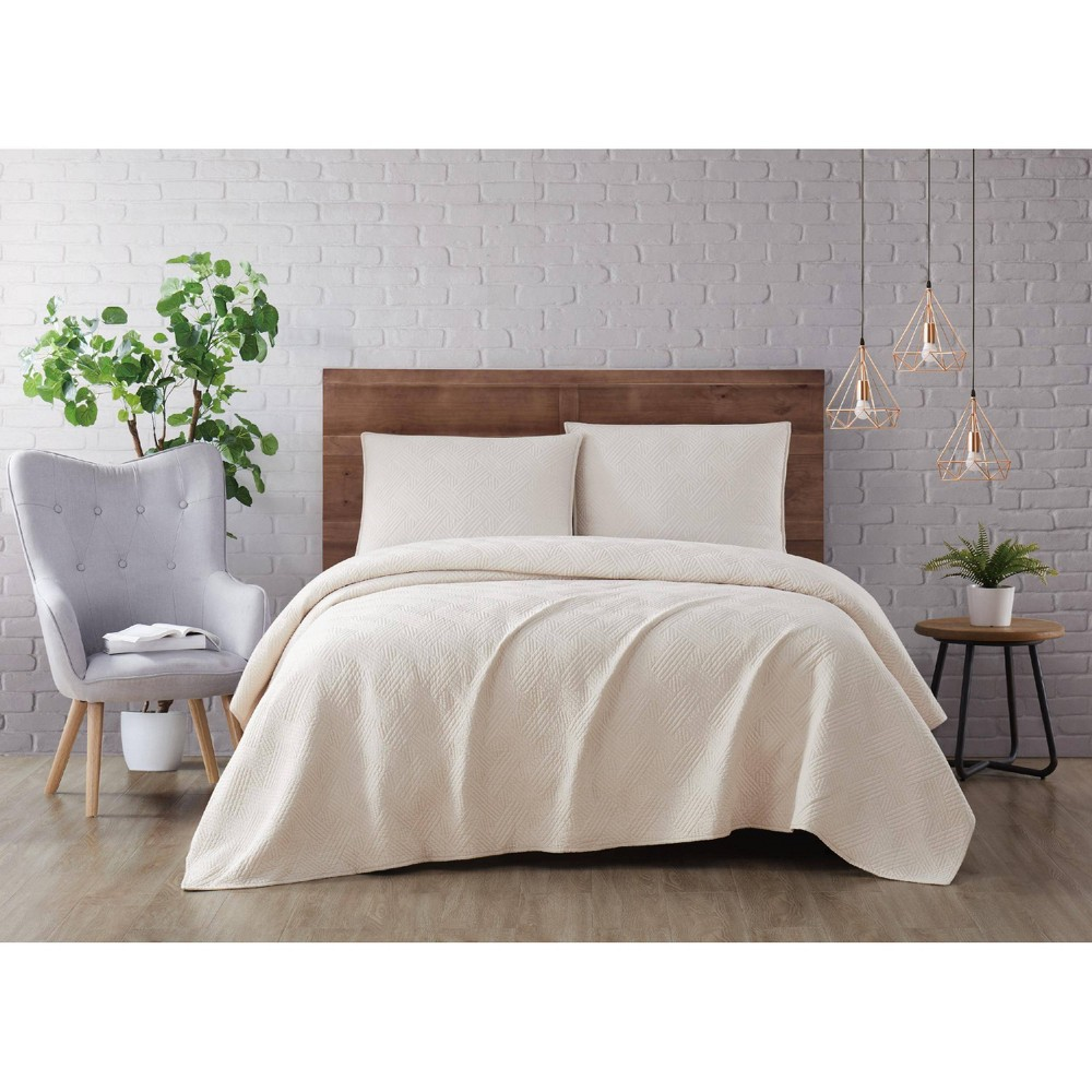 Image of Full/Queen 3pc Washed Rayon Basketweave Quilt Set Natural - Brooklyn Loom