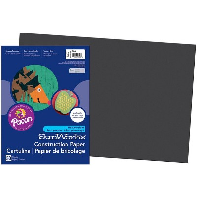 SunWorks Heavyweight Construction Paper, 18 x 24 Inches, Black, pk of 50